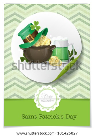 St. Patrick's Day Background With Leprechaun Hat, Clover, Pot Of Gold And Green Beer. Greeting Card Design, Template. Vector Illustration. Eps 10.