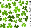 St. Patrick's day vector seamless background with shamrock. - stock vector