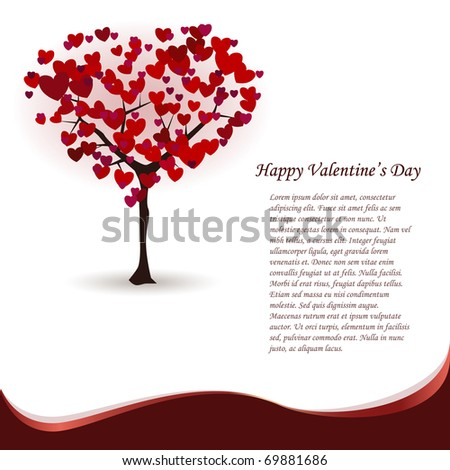St. Valentine's greeting card with love tree in the shape of heart