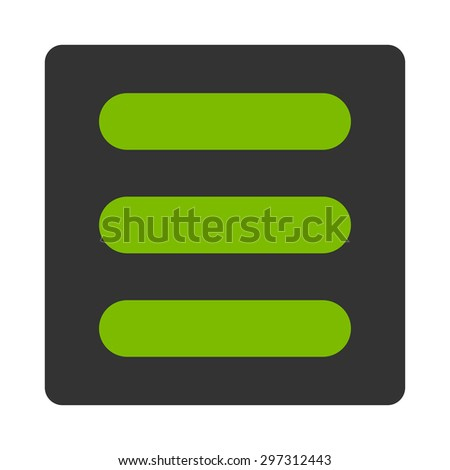 Stack icon from Primitive Buttons OverColor Set. This rounded square flat button is drawn with eco green and gray colors on a white background.