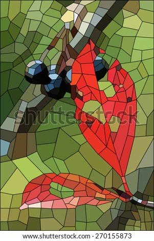 Stained Glass Red Rose On Orange Stock Vector 273790040