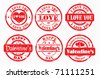 Stamp happy valentine's day and i love you. Vector illustration. - stock vector