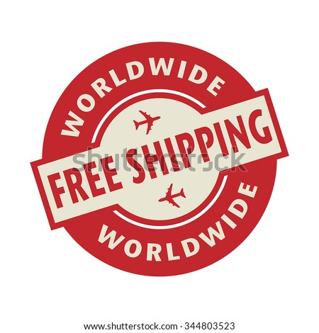 stamp or label with the text free shipping worldwide vector
