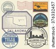 Stamp set with the name and map of Oklahoma, United States, vector illustration - stock vector