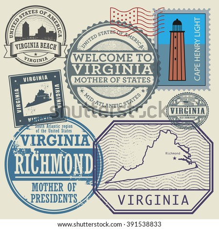 Stamp set with the name and map of Virginia, United States, vector illustration