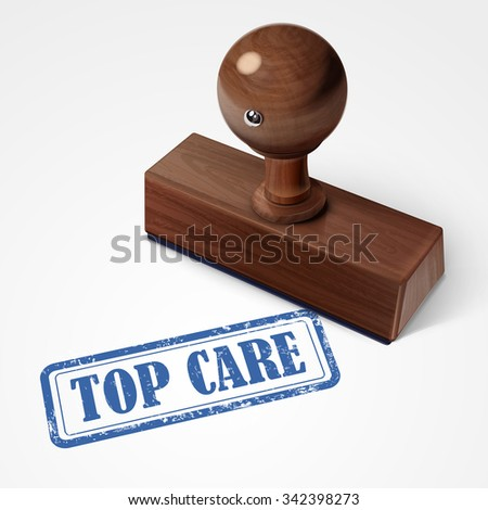stamp top care in blue over white background