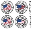 Stamp with map, flag of the USA. Made in the USA. Two forms: grunge and tidy - stock vector