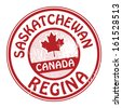 Stamp with name of Canada, Saskatchewan and Regina, vector illustration - stock vector