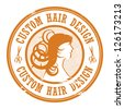Stamp with the text Custom Hair Design written inside, vector illustration - stock vector