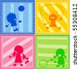 Stamps collection with children silhouettes - stock vector