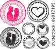 Stamps of Love.  Love stamps set. - stock vector