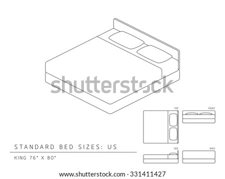stock vector standard bed sizes united states king size inches perspective uk metric single cm queen dimensions canada