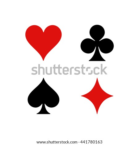 Standard suits for playing cards. Hearts, Clubs, Spades, Diamonds.