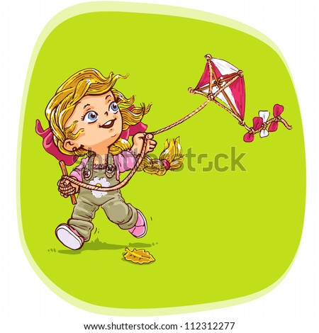 Standard vector illustration of young girl playing with kite.