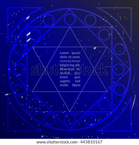 Star in deep blue sky in sacral geometry style. Cosmic star of David. Spirituality in art design of sacral geometry.