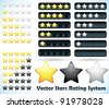 Star Rating System. Vector illustration of a rating system based on stars one through five in various formats and colors - stock vector