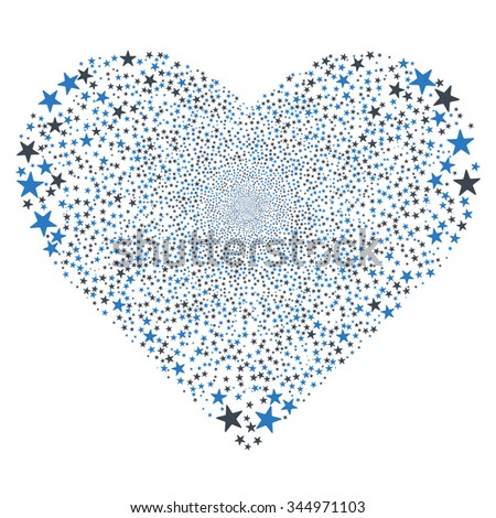 Star Salute Heart vector illustration. Style is smooth blue bicolor flat stars, white background.