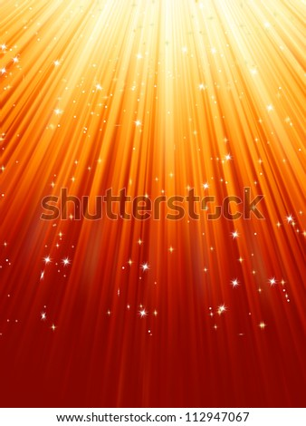 Stars and snowflakes on red golden background. EPS 8 vector file included