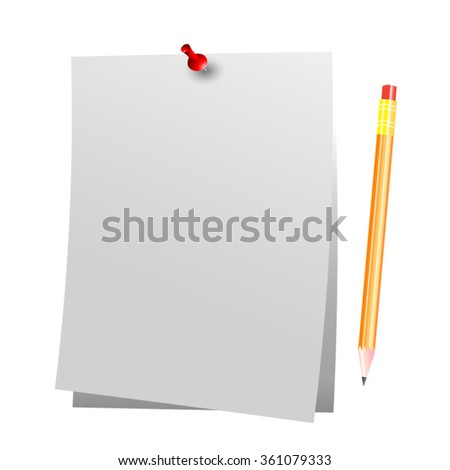 Stationery Blank with Pushpin and Pencil Isolated Vector