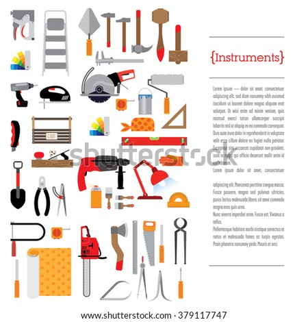 Stationery template design with tools. Tools for different purposes, there is a place for text and header. The background is white.