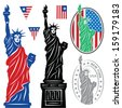 Statue Of Liberty and flags - stock vector