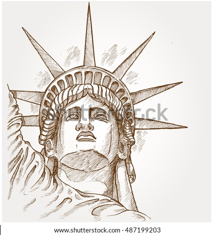 vector image face american statue liberty stock vector