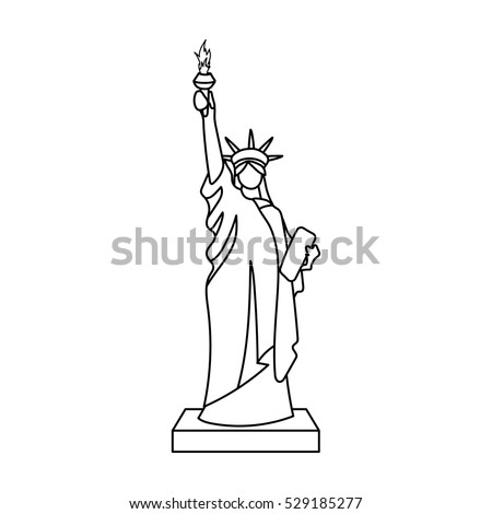 statue of liberty icon in outline style isolated on white background usa country symbol stock