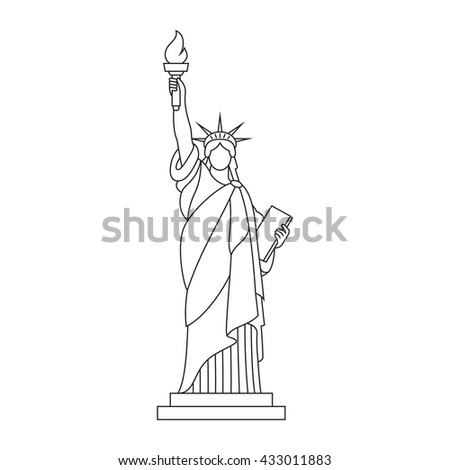 statue of liberty drawing template - statue liberty flood usa attraction underwater stock