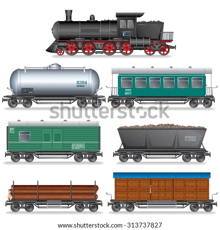 Steam Locomotive with Various Wagons. Vector Retro Train