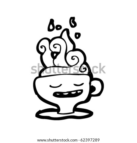 steaming coffee cup cartoon