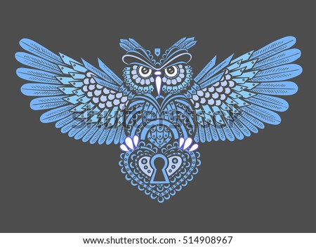 technological owl spread wings keyhole style stock vector