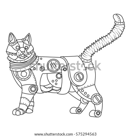 Steampunk Style Cat Mechanical Animal Coloring Book For Adult Vector Illustration