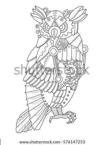 Steampunk Style Turtle Mechanical Animal Coloring Stock Vector
