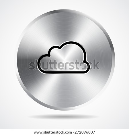 steel button and cloud icon vector design