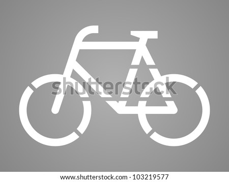 Stencil bicycle, road surface sign, on asphalt or tarmac