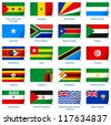 Sticker flags Africa (3 of 3). Vector illustration: 3 layers:  * shadows  * flat flag (you can use it separately)  * sticker (with transparencies). Collection of 220 world flags. Accurate colors. - stock photo