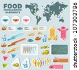 Sticker food, info graphic elements. - stock vector