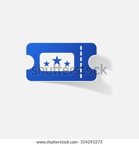 Sticker paper products realistic element design illustration movie ticket
