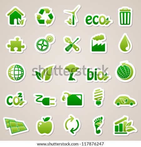 Stickers about ecology concept.