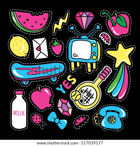 Stickers collections in pop art style isolated with white strokes on black background. Trendy fashion chic patches, pins, badges design set in cartoon 80s-90s comic style. Vector illustration.