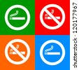 Stickers colorful - No smoking area labels - stock vector