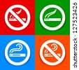 Stickers multicolored - No smoking area symbol - stock vector