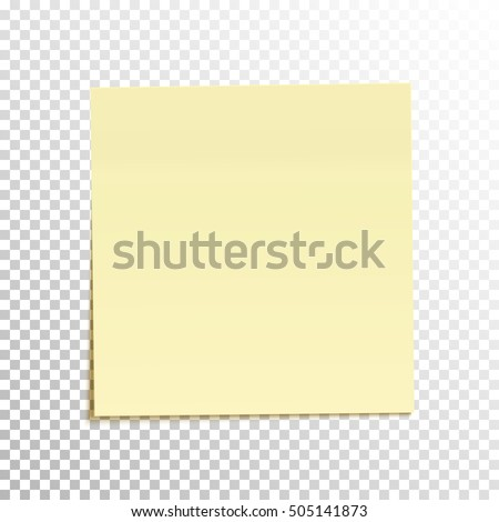 Sticky Note Isolated On Transparent Background. Template For Your Projects.  Vector Illustration.