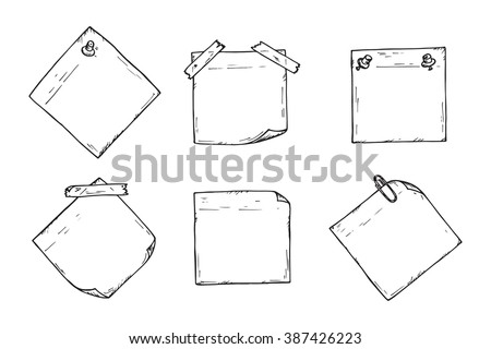 Sticky Notes Vector Set Hand Drawn Stock Vector 387426223
