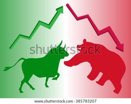 vector bull bear symbols stock market stock vector