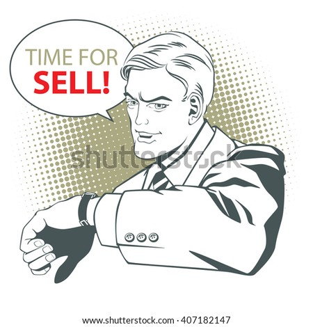 Stock illustration. People in retro style pop art and vintage advertising. Man invites to sell.