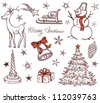 Stock Vector Illustration: Set of Christmas design elements in retro style - stock vector