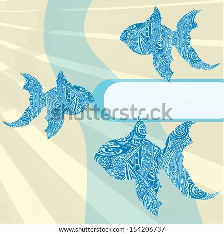Stock vector illustration with flower pattern and fish for note background or greeting card