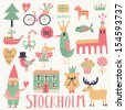 Stockholm Sweden set in vector. Cute stylish scandinavian set with house, church, gnome, birds, moose, bicycle, horse and other Stockholm symbols in bright colors - stock