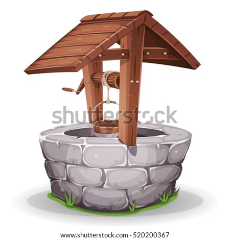 Stone And Wood Water Well/ Illustration of a cartoon stone and wooden water well, with rope and bucket